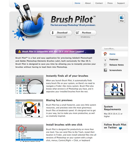 Brush Pilot website screenshot