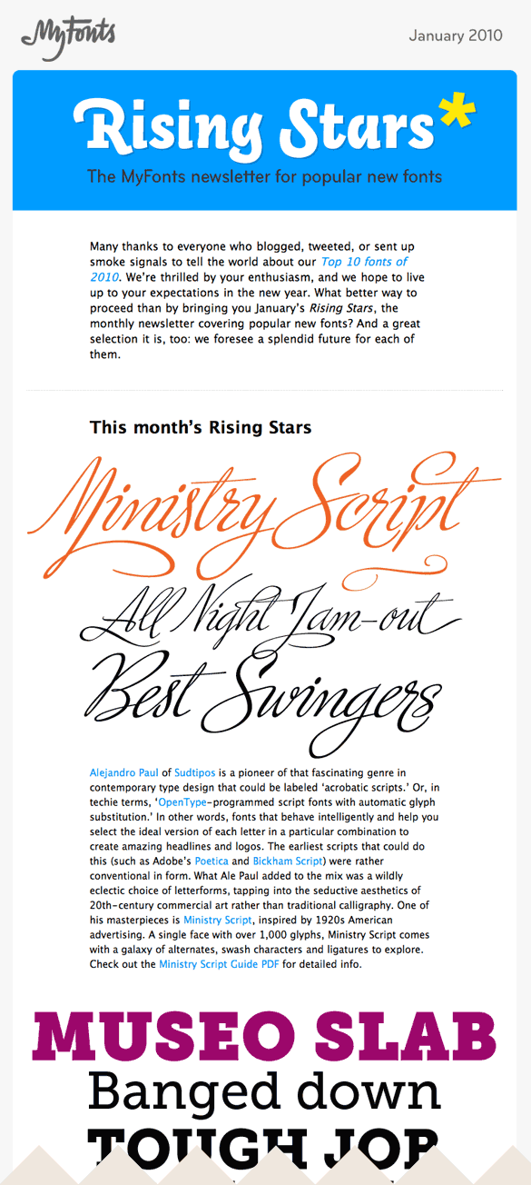 MyFonts.com E-Newsletter